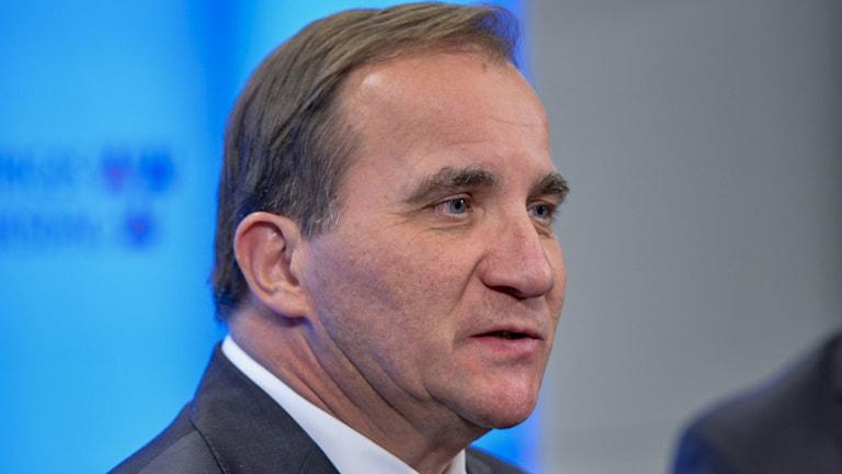 Stefan Löfven höll en pressträff i riksdagen på måndagskvällen. Foto: Henrik Montgomery/TT