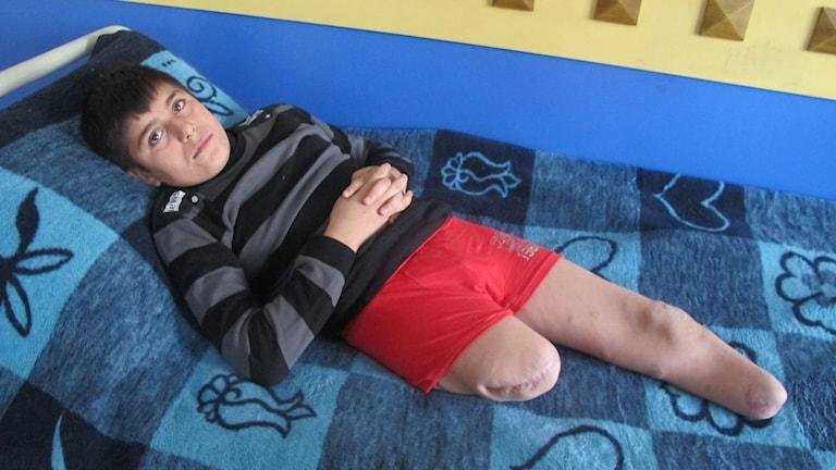 12-årige Ali skadades av en granat. Foto: Katja Magnusson/Sveriges Radio
