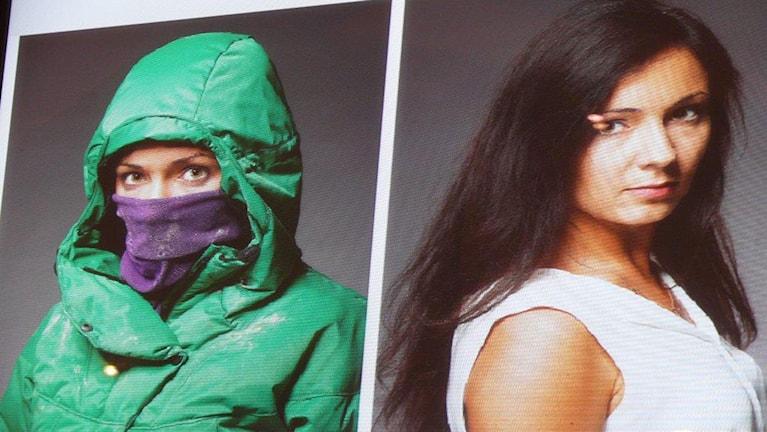 Foto av foto av Lana Sinisjkina som hon såg ut maskerad under Majdanprotesten och som hon ser ut i dag.