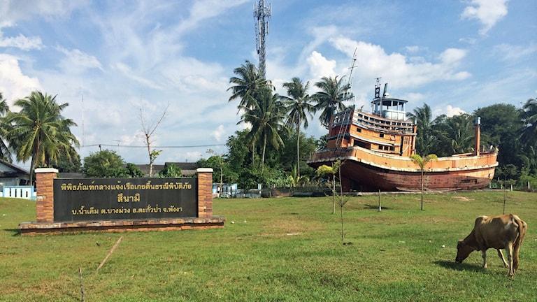 En av de fiskebåtar som spolades långt upp på land i Khao Lak står där fortfarande som ett minne av den hemska dagen. Foto: Margita Boström/Sveriges Radio.