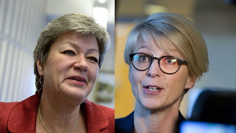Ylva Johansson, (S) arbetsmarknadsminister och Elisabeth Svantesson (M). Foto: Jonas Ekströmer och  Bertil Ericson/TT/Montage Sveriges Radio