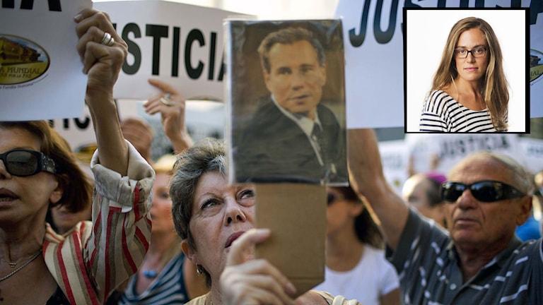 En kvinna håller upp ett foto på den döda åklagaren Alberto Nisman. Lotten Collin kommenterar. Kollage: Sveriges Radio.