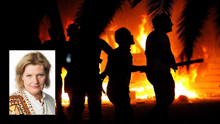 BIld från Libyen samt Ekots mellanösternkorrespondent Cecilia Uddén. Foto: TT / Sveriges Radio