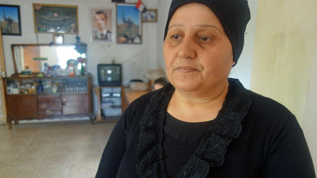 Samira har förlorat en son i kriget. Foto: Katja Magnusson/Sveriges Radio.