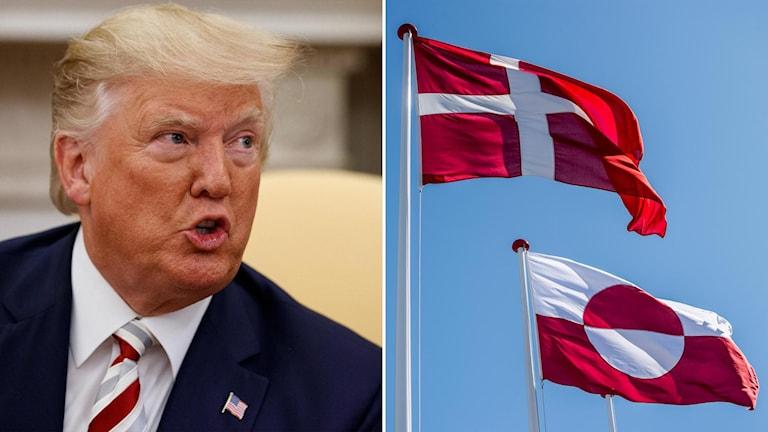 Delad bild: president Trump och danska och grönländska flaggan.