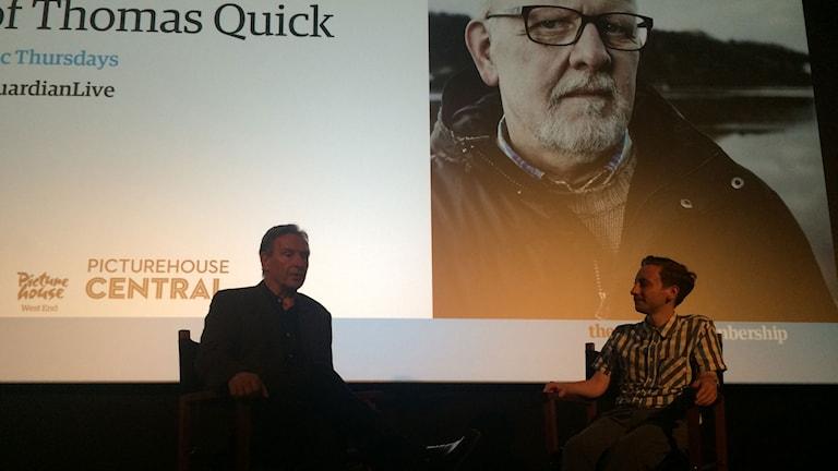 Regissören Brian Hill i samtal med The Guardians dokumentärchef Charlie Phillips. Foto: Martin Jönsson/Sveriges Radio