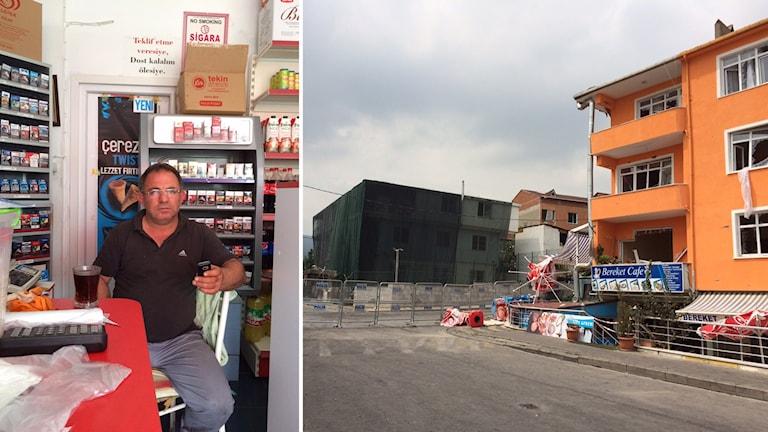 Orhan som driver den lilla affären i gatuplanet trodde att det var kylen som exploderade men såg sen två poliser liggande på gatan när han kom ut. Foto: Jesper Lindau/Sveriges Radio