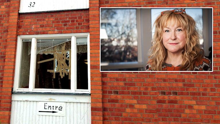 """Handmålad skylt med ordet """"Entré"""" hänger under en krossad fönsterruta. Reporter Katarina Gunnarsson infälld. Foto: Katarina Gunnarsson/Pablo Dalence/Sveriges Radio."""
