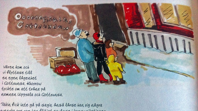 serietidningssida tre figurer tittar på ett skyltfönster