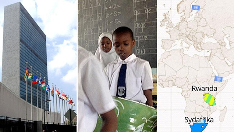 FN-högkvarteret. Barn framför svarta tavlan. Karta med FN-flaggor och flera länder utmärkta. Foto: TT/Sveriges Radio.