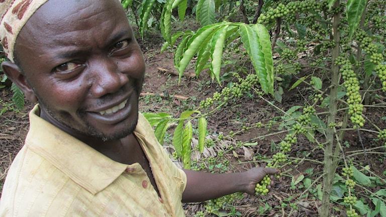 """Lantbrukaren Sinani Kannyanwa i Uganda säger att regnperioderna blivit opålitiga. """"Att så nu är lite av en chansning"""", säger han. Foto: Richard Myrenberg/Sveriges Radio"""