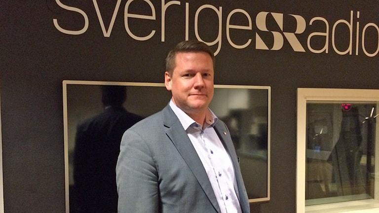 Tobias Baudin, förste vice ordförande i LO. Foto: Helena Ulander/Sveriges Radio.