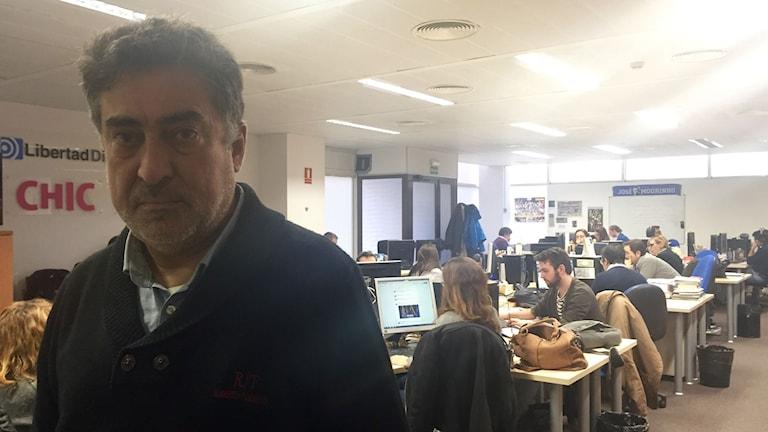 Luis del Pino politisk journalist som har talkshow i spanska riksradion. Foto: Beatrice Janzon/Sveriges Radio.