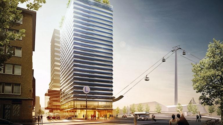 Arbetsmaterial från NCC och White arkitekter som visar hur linbanan i Göteborg kan se ut vid Järntorget.