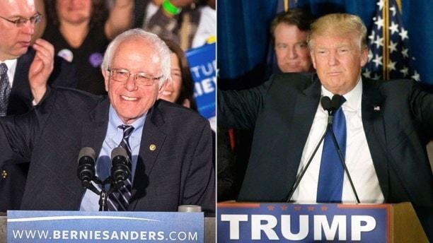 Demokraternas aspirant att bli presidentkandidat Bernie Sanders och Republikanen Donald Trump.