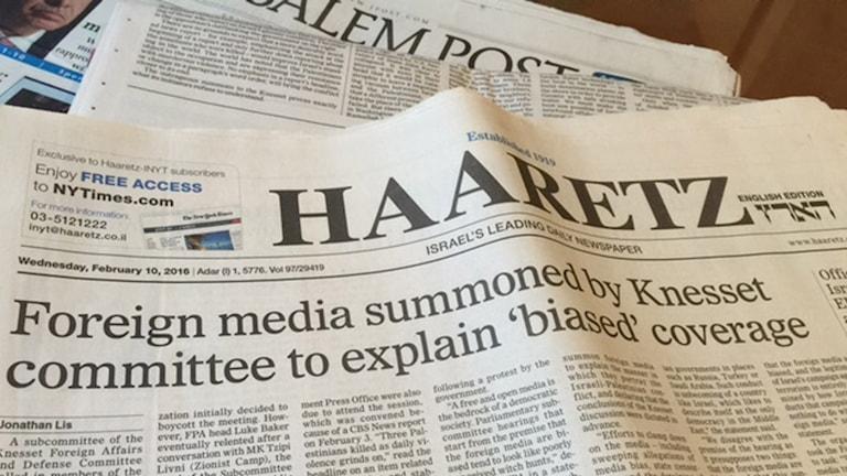 Rubrik i tidningen Haaretz.