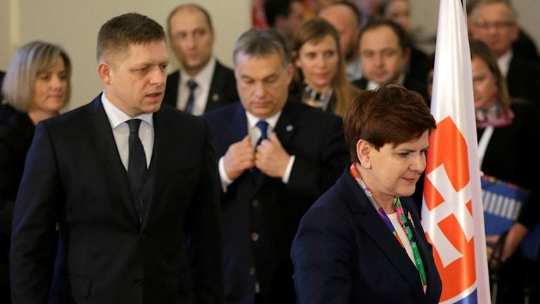 Viktor Orban, premiärminister i Ungern och hans kollegor Robert Fico, Slovakien och Beata Szydlo, Polen.