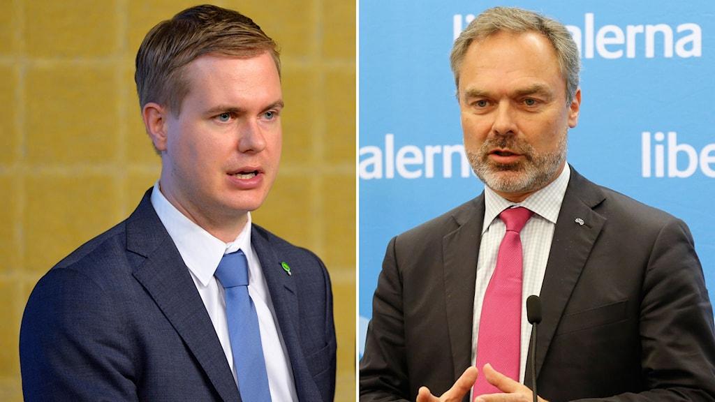 Utbildningsminister Gustav Fridolin (MP) och Jan Björklund, partiledare Liberalerna.