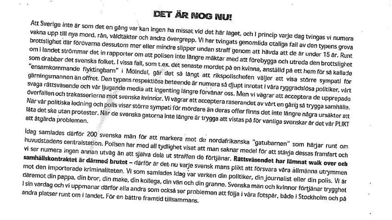 Flygbladet som delades ut under kvällen den 29 januari. Polis och åklagare har nu kommit fram till att innehållet inte kan beskrivas som en uppmaning till våld.