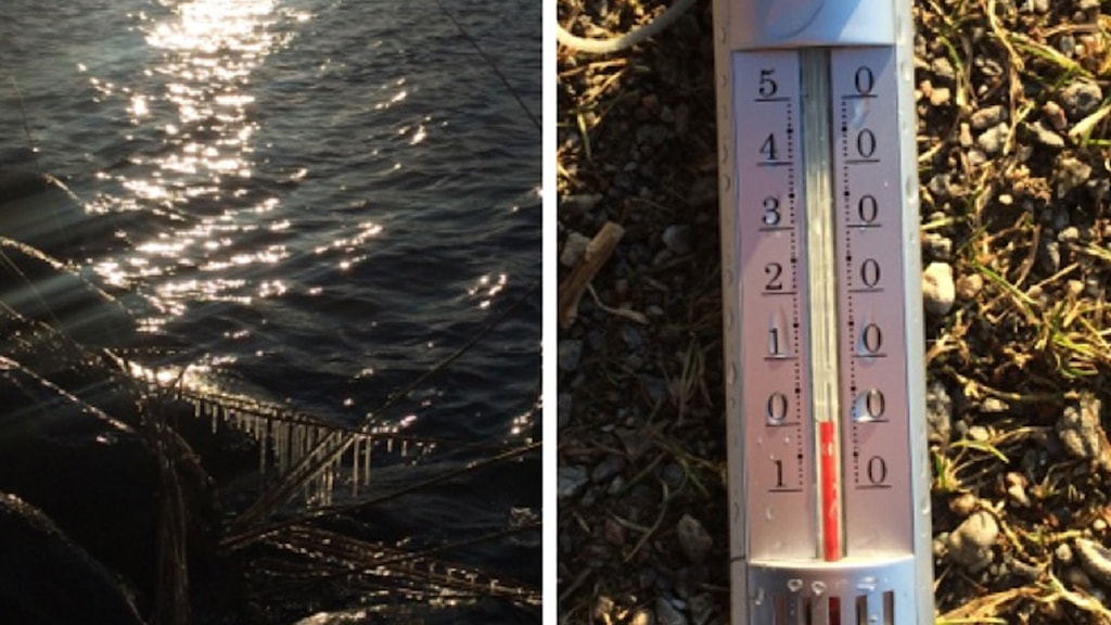 Vatten och en termometer som visar noll grader