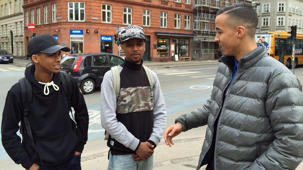 Muhamed, Mustafa och Abdullah på Nørrebro i Köpenhamn.