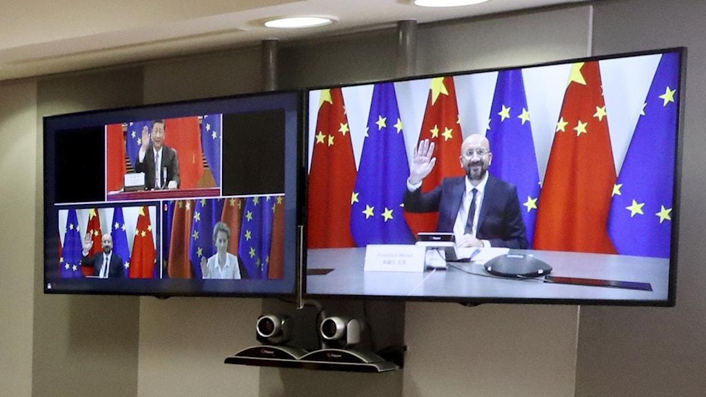 EU:s högsta ledning ska under måndagen träffa Kinas president Xi Jinping i ett toppmöte via webben.