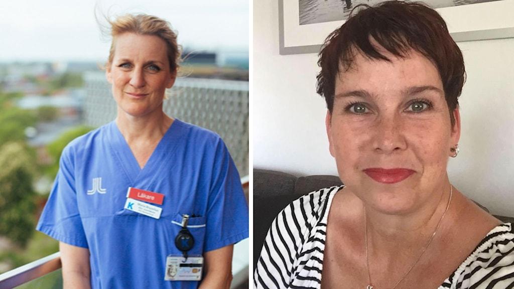 Maria Bruzelius, läkare på Karolinska Institutet och Susanne Sundqvist som precis tillfrisknat från corona.