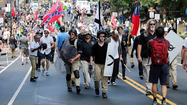 Svensken Patrik Hermansson befann sig i Charlottesville, och nära den förre Ku Klux Klan-ledaren David Duke, i augusti.