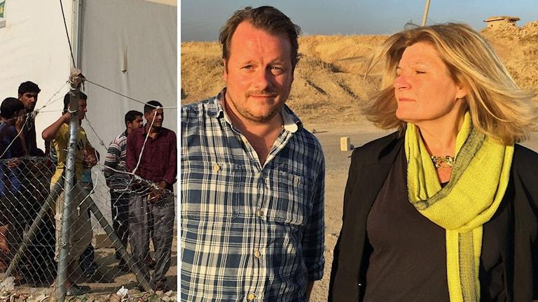 Sveriges Radios Mellanösternkorrespondenter Johan-Mathias Sommarström och Cecilia Uddén sänder från flyktinglägret Dibagah söder om Mosul.