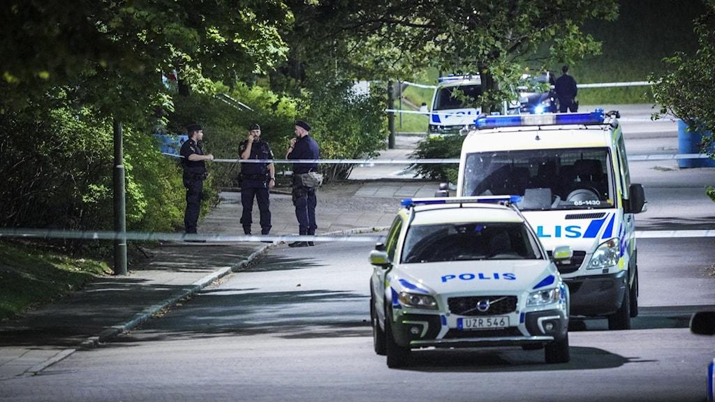 Bild på två polisbilar.