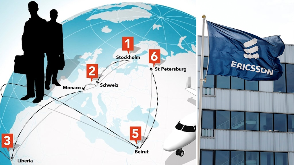 Karta med streck som visar pengarnas väg över Europakarta. Grafik: Liv Widell/Sveriges Radio. Ericssonflagga. Foto: Jonas Ekströmer/TT