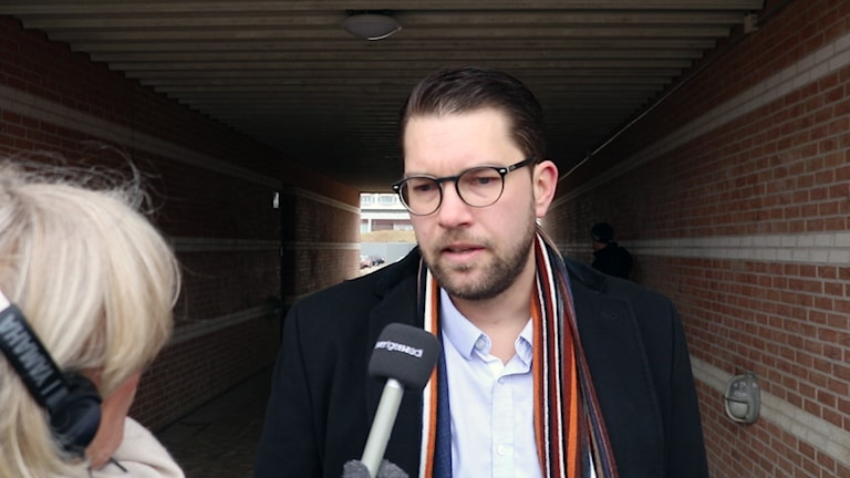 Jimmie Åkesson intervjuas.