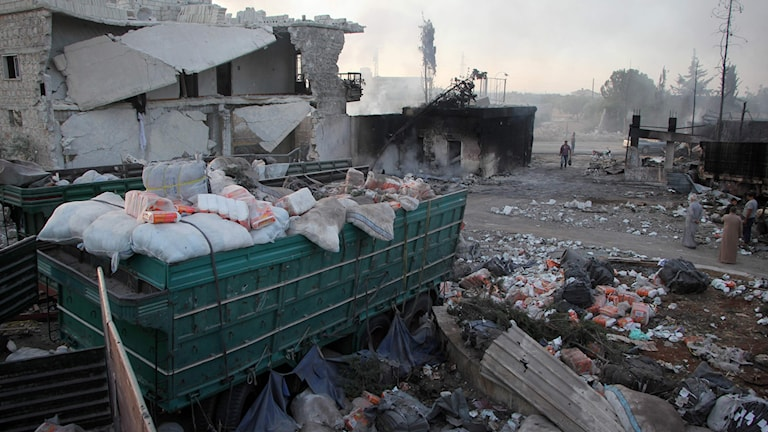 Bombad hjälpkonvoj, Aleppo, Syrien.