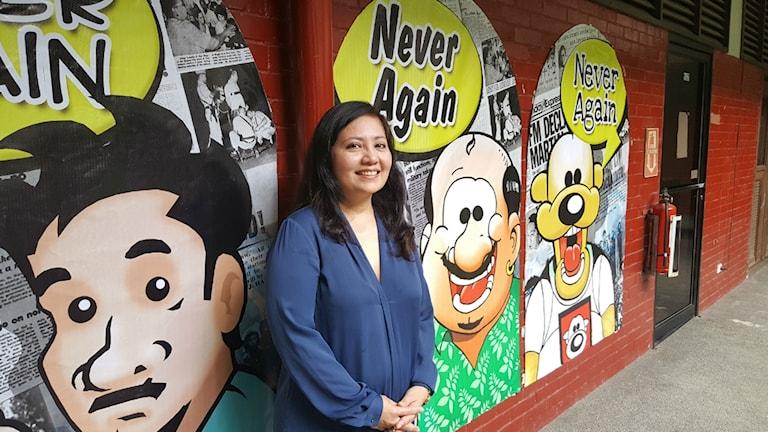 Karen Gomez är Filippinernas nationella kommissionär för mänskliga rättigheter. Hon är kritisk till att polisen gör skillnad på rika och fattiga i kriget mot droger.