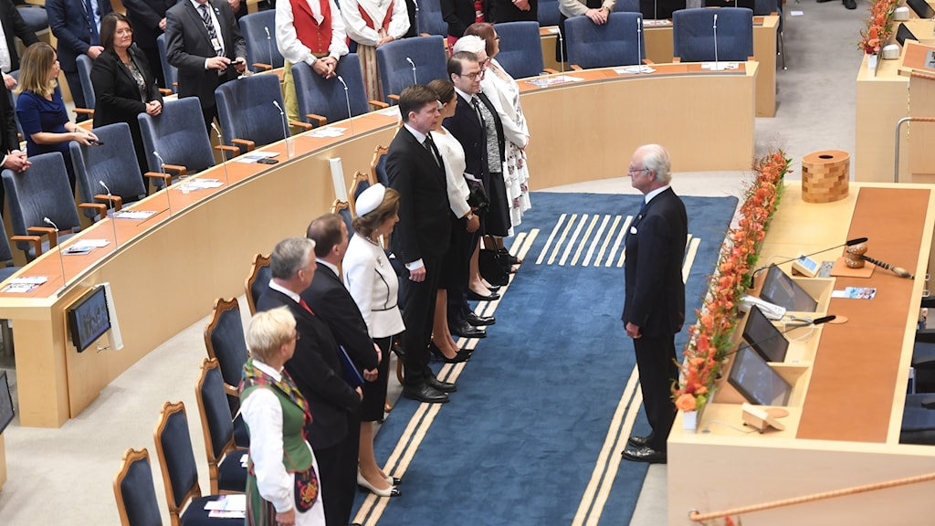 Kung Carl Gustaf under riksmötets öppnande.