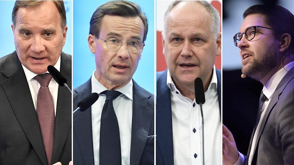 Statsminister Stefan Löfven (S), partiledarna Ulf Kristersson (M), Jonas Sjöstedt (V) och Jimmie Åkesson (SD).