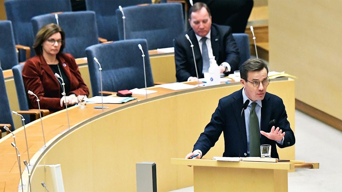 Moderaternas partiledare Ulf Kristersson (M) under dagens partiledardebatt i riksdagen.