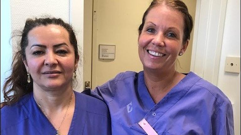 Undersköterskorna på palliativa kliniken Handens sjukhus Nasira Khazan och Linda Blomdal