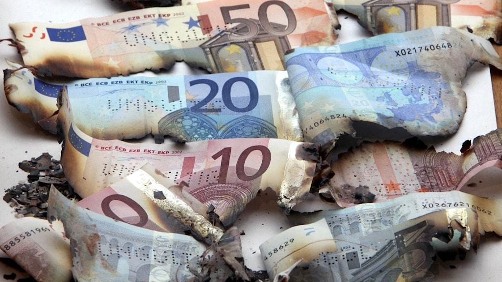 Bild på brända euro-sedlar.