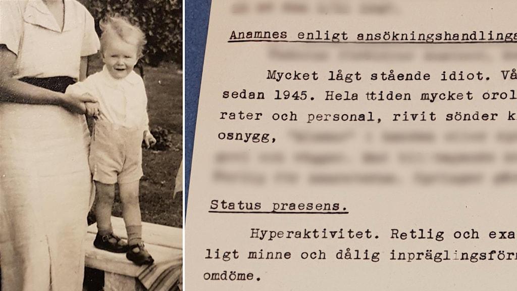 Bild av en journal från Vipeholmsanstalten och av en pojke som när han var några år äldre än på bilden hamnade där.