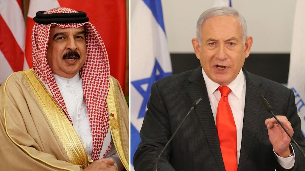 Bahrains kung Hamad bin Isa Al Khalifa och Israels premiärminister Benjamin Netanyahu.