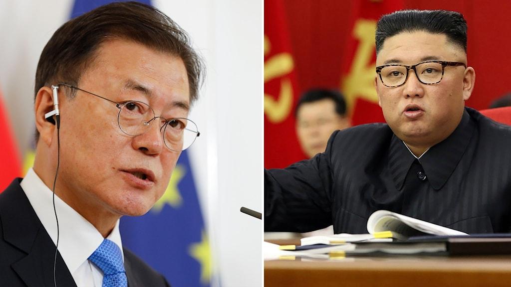 Sydkoreas president Moon Jae-in/Nordkoreas högsta ledare Kim jong-un