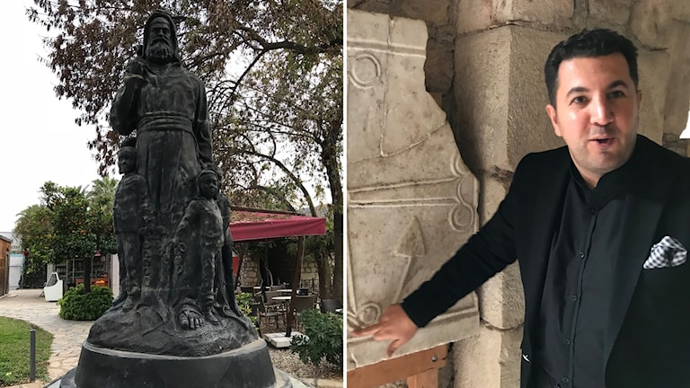 Bildkollage med en staty och en man som pekar på en grav.