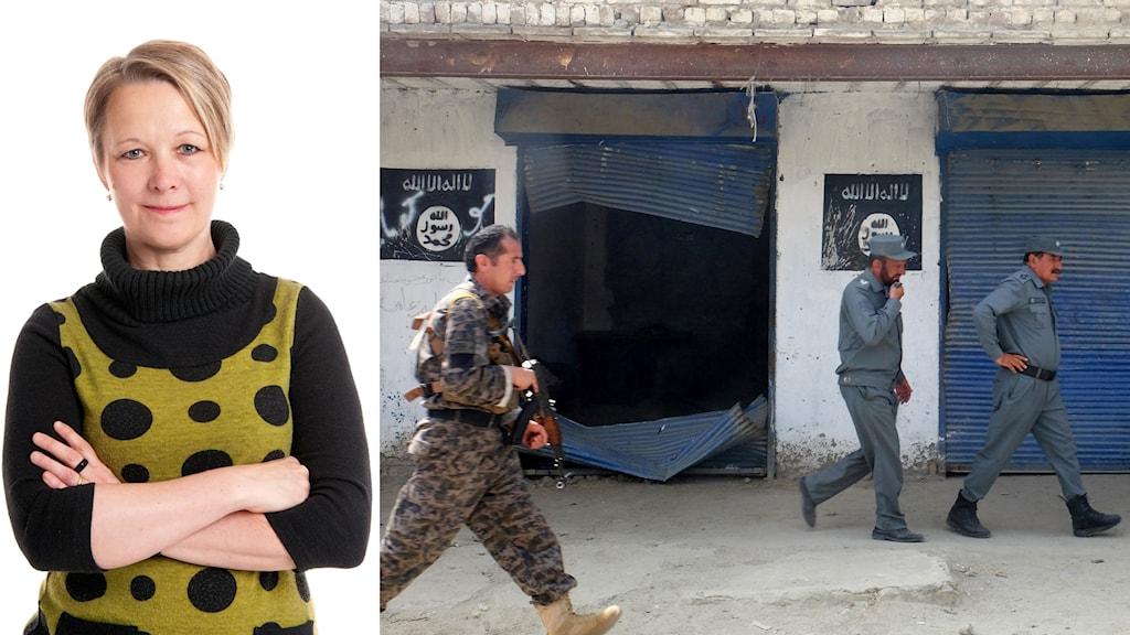 Bildkollage med Anna-Karin Johansson och afghanska poliser.
