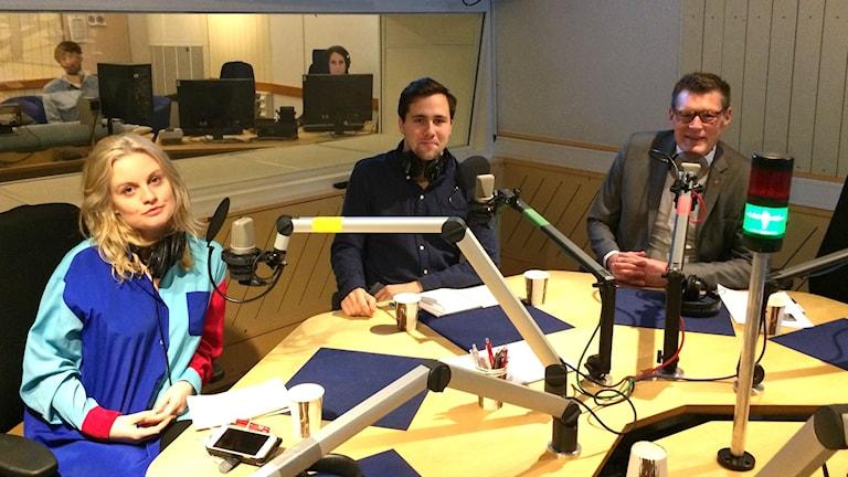 Jörgen Tholin, utredare och universitetsdirektör vid Göteborgs universitet, och Benjamin Dousa, ordförande för Moderaternas ungdomsförbund och Elin Ylvasdotter, ordförande för S-studenter.