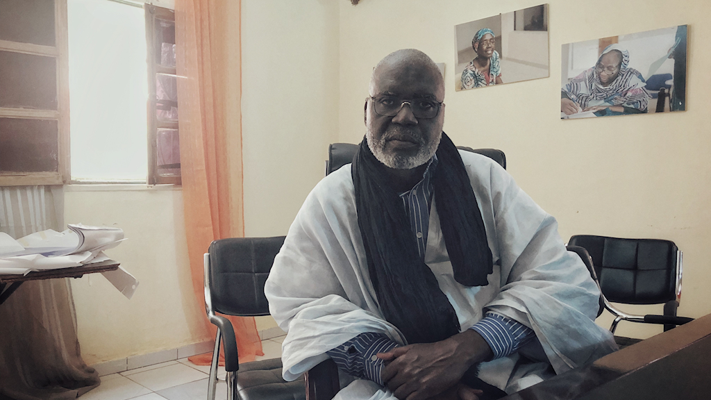 Elkory Sneiba, talesperson för SOS ssclaves, en av de organisationer som arbetar för att slaveriet ska avskaffas i Mauretanien. Organisationen arbetar i motvind eftersom regeringen inte  vill erkänna problemet.