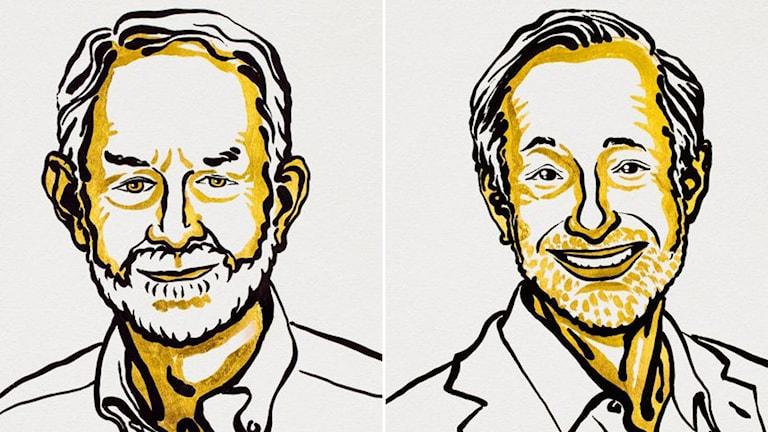 Illustration av årets Ekonomiprisvinnare Paul R Milgrom och Robert B Wilson.