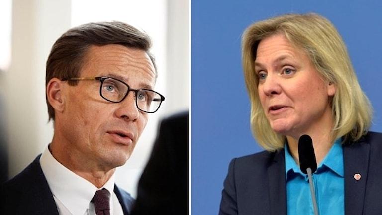 Ulf Kristersson, ekonomisk talesperson (M), och finansminister Magdalena Andersson (S). Foto: Jessica Gow och Jonas Ekströmer / TT