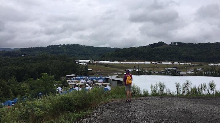 Utsikten över lägerplatsen i West Virginia, USA.