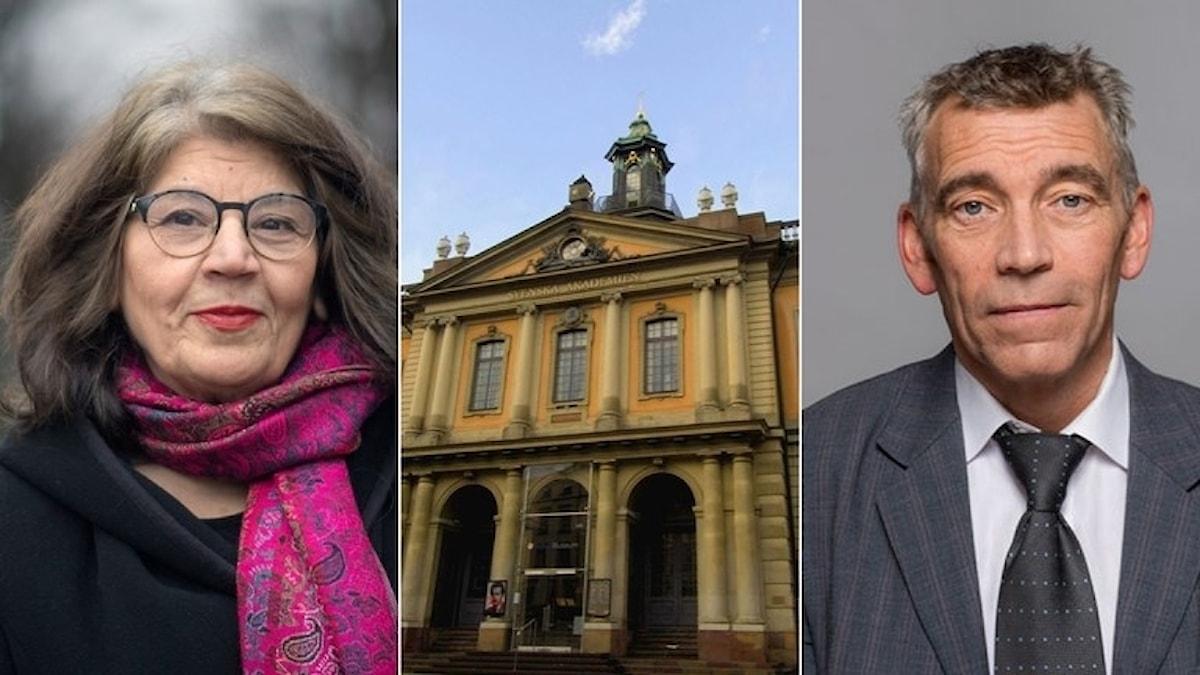 Författaren Jila Mossaed och juristen Eric M Runesson väljs in i Svenska Akademien, enligt ett pressmeddelande. Foto: TT och Micke Lundström/Advokatsamfundet.
